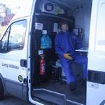 mannequin-man performming as a Living Mannequin: Demonstration of Laing O'Rourke Welfare vehicle at Yorkshire Water Event - Discovery Zone for Laing O'Rourke on 12/11/2003