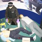 Mannequin man as a living training dummy amongst other dummies on the hyperbaric medicine stand
