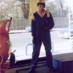 mannequin-man performming as a Living Mannequin: Mannequin man performing as a living Mannequin at HSS Hire Shop Purley for HSS on 24/11/1993
