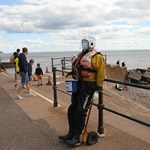 mannequin-man performming as a Living Mannequin: Reprised the role of Sid the Sidmouth mannequin over the August Bank Holiday Weekend to help collect for Sidmouth's independent lifeboat for Sidmouth Lifeboat on 29/08/2020