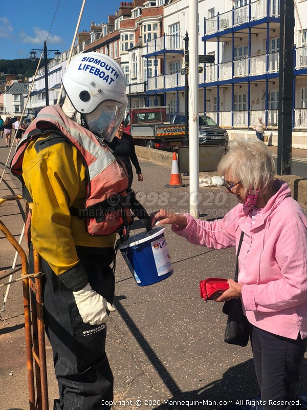 Reprised the role of Sid the Sidmouth mannequin over the August Bank Holiday Weekend to help collect for Sidmouth's independent lifeboat - Living mannequin man standing in for Sidmouth's popular charity lifeboat mannequin