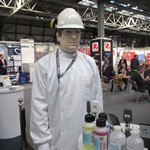 Mannequin man the living mannequin dressed as a laboratory worker on the CamLab stand at Lab Innovations 2018