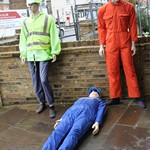 mannequin-man performming as a Living Mannequin: Living mannequin for a day at Kenneth Gee work wear shop