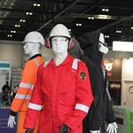 Living mannequin with real mannequins on Bunzl Greenham stand at Health And Safety Expo 2014