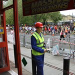 mannequin-man performming as a Living Mannequin: Living Mannequin amusing spectators during the 2015 London Marathon at Machinemart Wapping  for Machine Mart on 26/04/2015