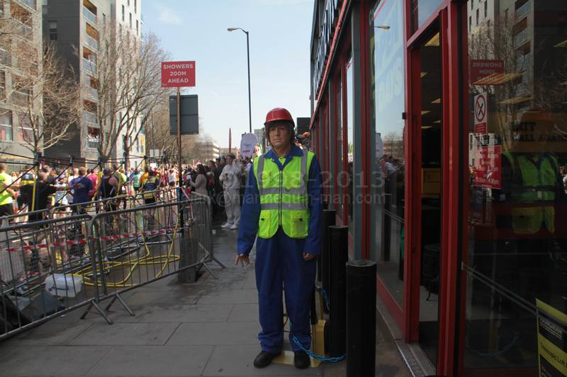 Living Mannequin during the 2013 London Marathon at the Docklands Machine Mart Store  - London Marathon Living Mannequin Machine Mart 2013