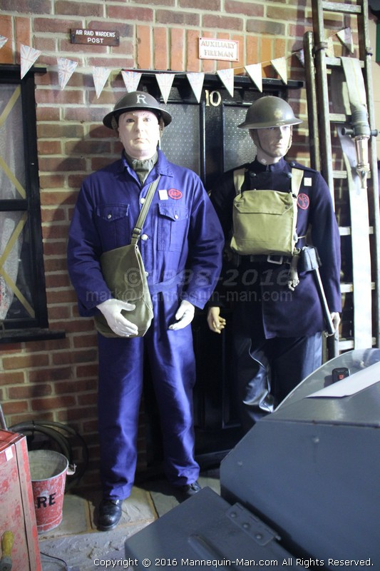 Mannequin man reprising the role of the ARP warden at the Essex Fire Museum to the amusement of the parents and youngsters. More mannequin antics at Essex Fire Museum