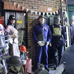mannequin-man performming as a Museum Dummy: Mannequin man reprising the role of the ARP warden at the Essex Fire Museum to the amusement of the parents and youngsters for Essex Fire Museum on 30/03/2016