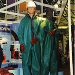 Mannequin man working as a living display dummy mannequin on the North safety stand at an Arco Experience.