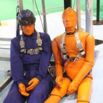 mannequin-man performming as a CPR Dummy: Empoyed by IKAR GB to create interest on their stand by imitating the test dummies used in their fall arrest demonstrations at Safety & Health Expo London ExCeL 2016 for IKARGB on 23/06/2016