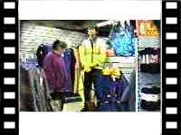 mannequin-man Living Mannequin: Joke being play on customer in shop at Open day at Arco shop for Arco on 22/12/1994