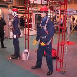 Mannequin man the human dummy, performing as a living dummy on the Protecta International Stand at Europe's leading annual health and safety exhibition