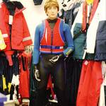Shop display mannequin in wetsuit in Wapping London Pumpkin Marine Shop