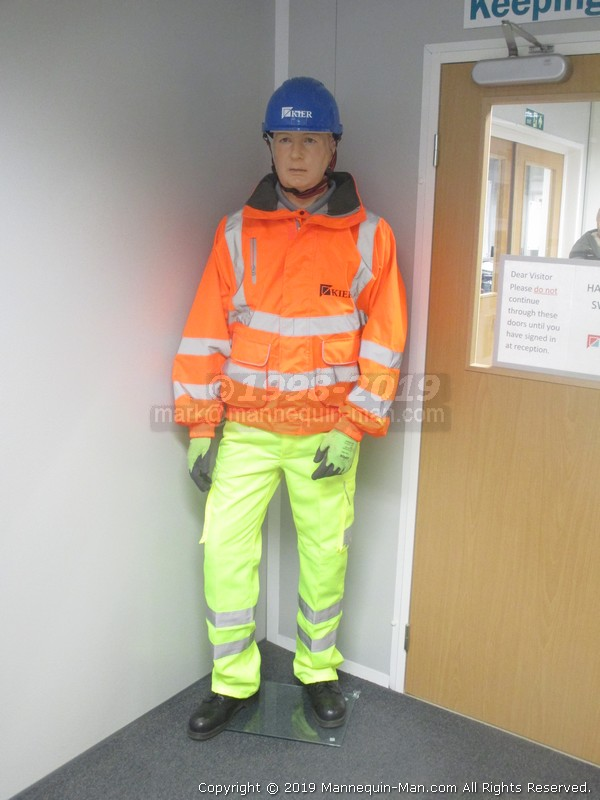 As part the Thumbs-up safety training by of Lynch Plant Hire & Haulage for Keir. - Replaced Keir Mannequin Wearing Safety Clothing In Reception