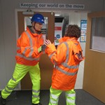 mannequin-man performming as a Living Mannequin: Replaced Keir Mannequin Wearing Safety Clothing In Reception for Keir on 14/01/2019