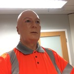 mannequin-man performming as a Living Mannequin: As part the Thumbs-up safety training by of Lynch Plant Hire & Haulage for Keir. for Keir on 14/01/2019
