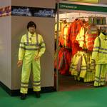 Mannequin man the human statue, performing as a show dummy on the stand of Praybourne Limited - UK at the Safety & Health Expo at the NEC in Birmingham, Europe's leading annual health and safety event.