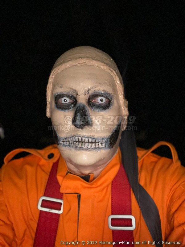 Halloween event at the Essex Fire Museum, Mannequin man scaring the visitors as a spooky skeleton hanging dummy in the fire house of horrors - Scary Hanging Halloween Dummy Comes Alive At The Essex Fire Museum House Of Horrors