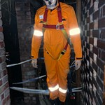 mannequin-man performming as a Museum Dummy: Halloween event at the Essex Fire Museum, Mannequin man scaring the visitors as a spooky skeleton hanging dummy in the fire house of horrors for Essex Fire Museum on 29/10/2019