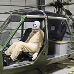 mannequin-man performming as a Museum Dummy: Mannequin man at the Army Flying Museum surprising the visitors as a scary skeleton ghostbuster helicopter pilot mannequin during their Halloween event for Army Flying Museum  on 31/10/2019