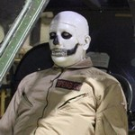 Mannequin man at the Army Flying Museum surprising the visitors as a scary skeleton ghostbuster helicopter pilot mannequin during their Halloween event