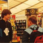 mannequin-man performming as a Living Mannequin: Southampton boatshow, mannequin man wearing diamond suit waiting for an unsuspecting member of the public to pass by for Pumpkin Marine on 14/09/1991