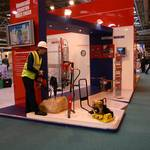mannequin-man performming as a Living Mannequin: Speedy Hire Stand at Safety & Health Expo 2004 for Speedy on 14/05/2004