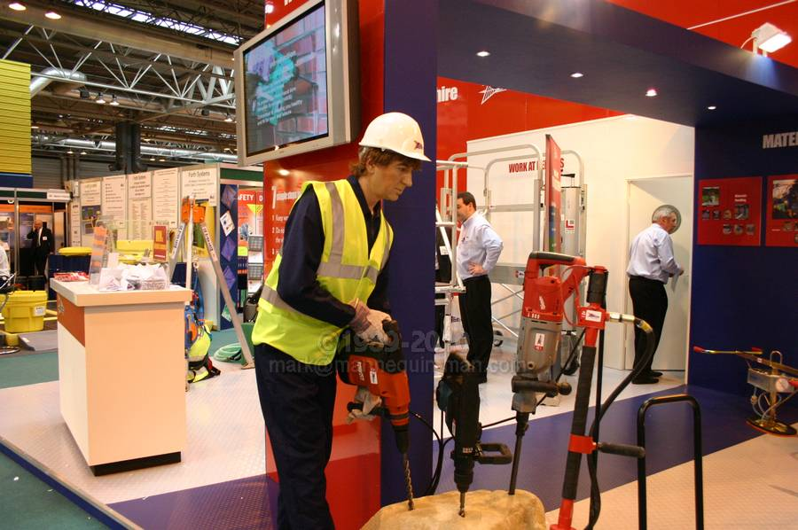 Speedy Hire Stand at Safety & Health Expo 2004. Living Mannequin Safety & Health Expo NEC