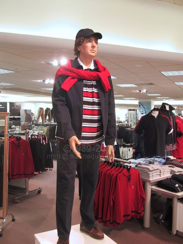 mannequin man displaying as a department store showroom dummy in an M & S store in Croydon - Living Mannequin Marks & Spencer Mannequin Croydon, London