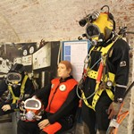 mannequin-man performming as a Museum Dummy: Spent the day as a mannequin wearing a hot water diving suit at the Diving Museum in Gosport for The Diving Museum on 18/09/2015