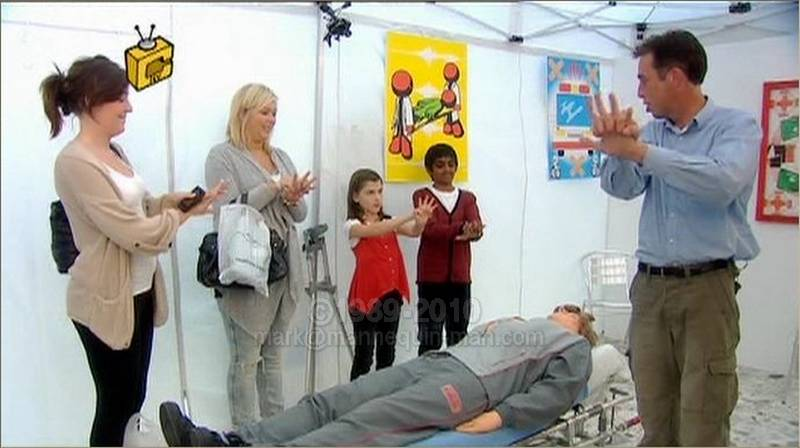 The Tricky TV team have set up a life saving course in a shopping centre to demonstrate resuscitation techniques (CPR) to the general public. But as its a wicked wind-up, someone is about to get a shock. Bill the cpr dummy is played by mannequin-man.