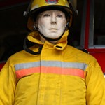 mannequin-man performming as a Museum Dummy: Mannequin Fire-fighter wearng Turnout Bunker gear from the USA for Essex Fire Museum on 03/04/2018