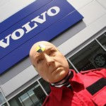 mannequin-man performming as a Crash Test Dummy: Event for Volvo Cars Holes Bay Poole as Living Human Crash Test Dummy in a car showroom for Volvo Cars on 06/06/2015
