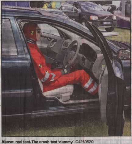 Mannequin-man as Crash Test Dummy at Horsham Motor Show