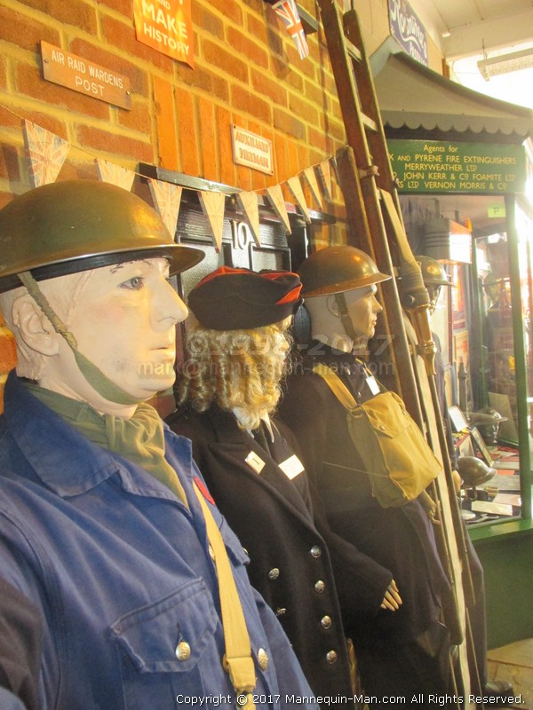 Mannequin man amusing the visitors to the Essex Fire Museum as the World War 2 ARP warden exhibit - WW2 ARP Warden Living Mannequin Fun at the Essex Fire Museum